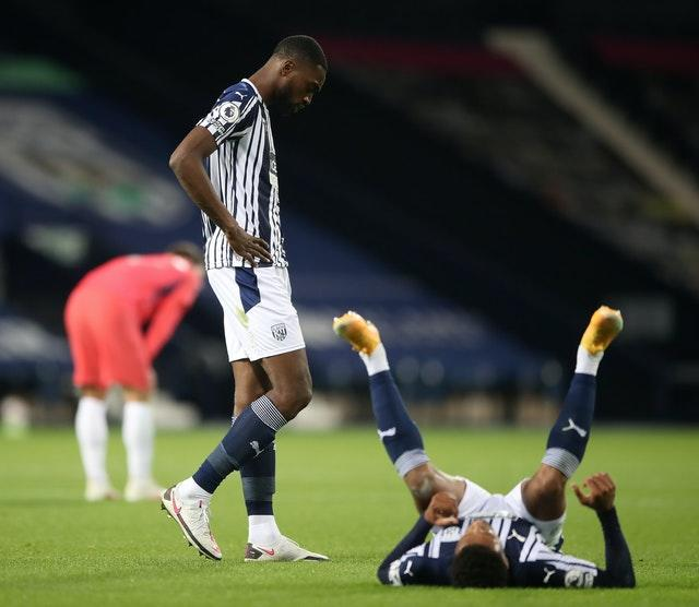 West Brom's Semi Ajayi (left) and Darnell Furlong show their disappointment on the final whistle in their 3-3 draw with Chelsea