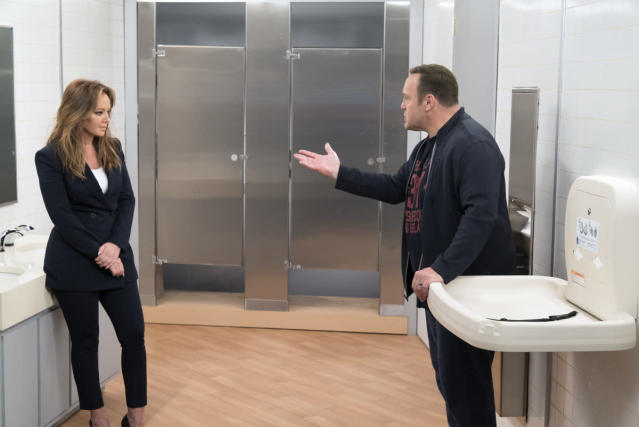 "<p>Kevin James and Leah Remini need to hook up already on <em>Kevin Can Wait</em>. <a href=""https://www.yahoo.com/entertainment/sorry-kevin-can-wait-shippers-kevin-james-leah-remini-will-not-hooking-140016786.html"" data-ylk=""slk:James has said there is no plan;outcm:mb_qualified_link;_E:mb_qualified_link"" class=""link rapid-noclick-resp newsroom-embed-article"">James has said there is no plan</a> for his character to get romantic with new leading lady Vanessa (Remini), but we're not buying it. Not only do the longtime <em>King of Queens</em> co-stars have killer chemistry, but James's TV wife was killed off of the sophomore CBS sitcom. The widower's high-heeled co-worker hangs around his house a lot, and their flirty arguments are giving us Doug and Carrie déjà vu. By season's end, these two need to kiss and make up. — <em>Victoria Leigh Miller</em><br><br>(David M. Russell/CBS) </p>"