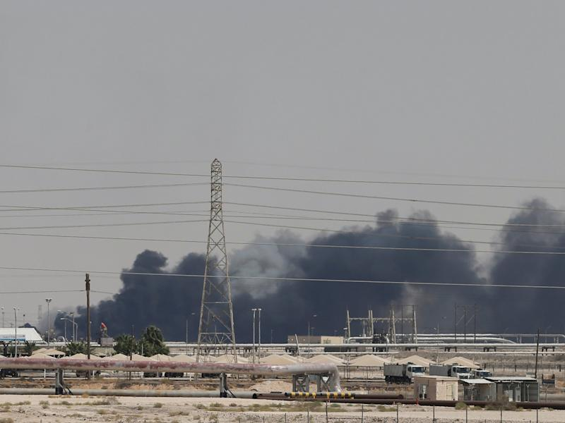 Smoke is seen following a fire at Aramco facility in the eastern city of Abqaiq, Saudi Arabia, September 14, 2019. REUTERS/Stringer