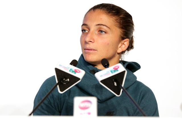 ISTANBUL, TURKEY - OCTOBER 21: Sara Errani of Italy fields questions from the media at the WTA All Access Hour before the start of the WTA Championships at the Renaissance Polat Hotel on October 21, 2013 in Istanbul, Turkey. (Photo by Matthew Stockman/Getty Images)