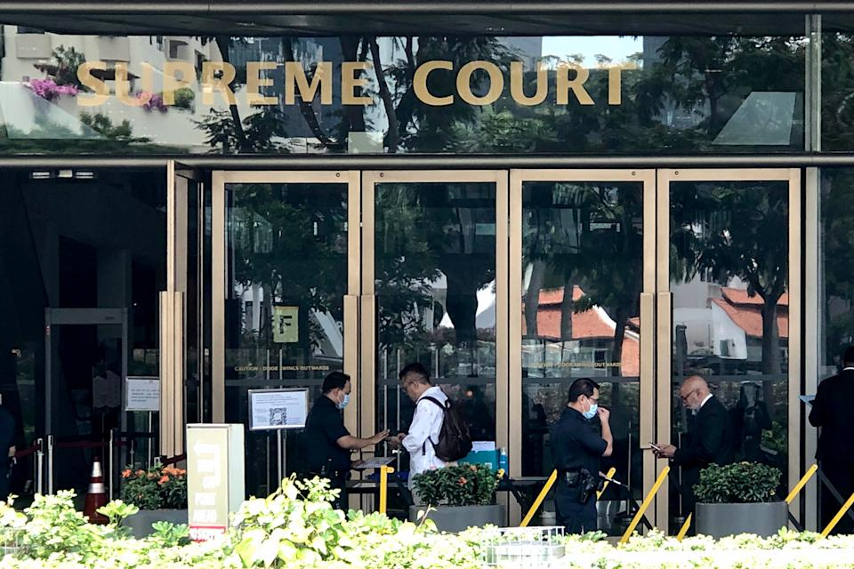 COVID-19 precautionary measures being taken at the Supreme Court building on 26 March 2020. (PHOTO: Dhany Osman / Yahoo News Singapore)