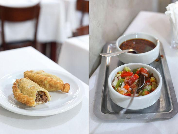 Fried beef 'empanadas' (left) and classic condiments such as 'chimichurri' and 'salsa criolla' (right)