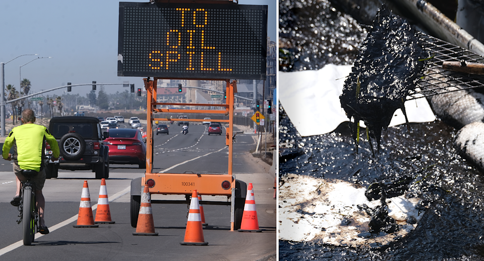 Left - A road in California with a sign reading 'to oil spill'. Right - Close up of the oil spill.