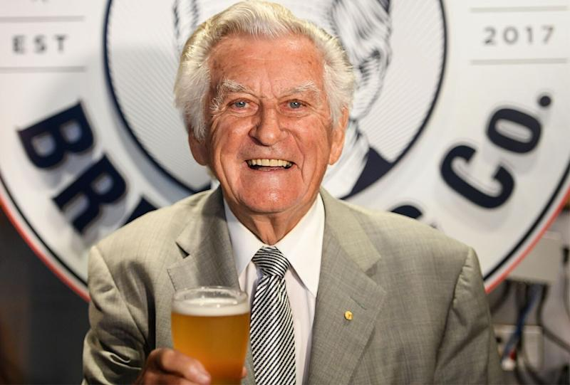 Bob Hawke pictured at the launch of Hawke's lager beer. Source: Getty