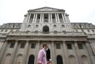 The Bank of England is seen in the City of London, Britain