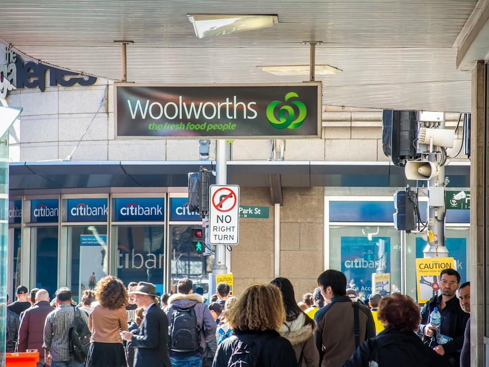 SYDNEY, AUSTRALIA - 2016/07/25: Signage outside Woolworths' flagship store pictured as Woolworths revealed 500 jobs will go in back office and supply roles as part of an overhaul of its business amid tough competition in the retail industry on 25 July, 2016. Woolworths also announced that 30 stores will close, including 17 supermarkets in Australia, six supermarkets in New Zealand, four Woolworths metro stores and three hotels. (Photo by Hugh Peterswald/Pacific Press/LightRocket via Getty Images)