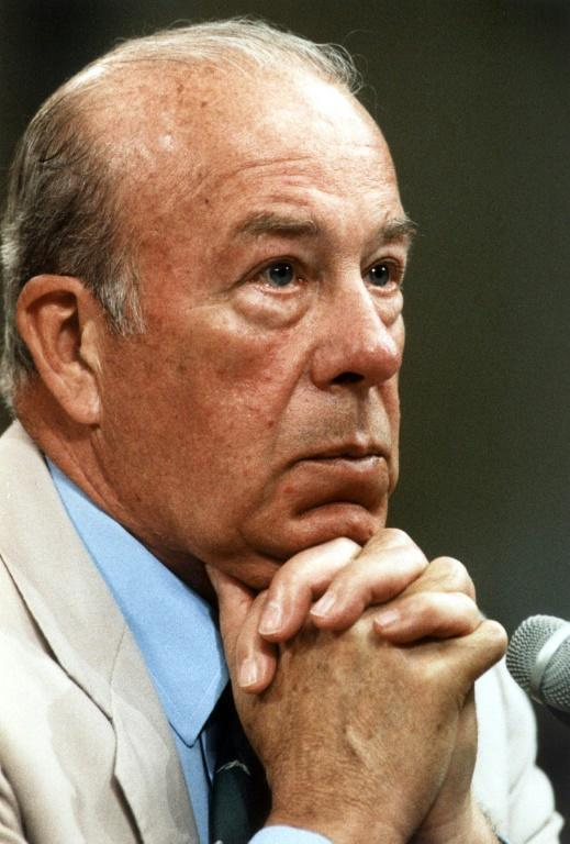 US Secretary of State George Shultz listens to a question during his first day of testimony before Iran-Contra investigators on July 23, 1987