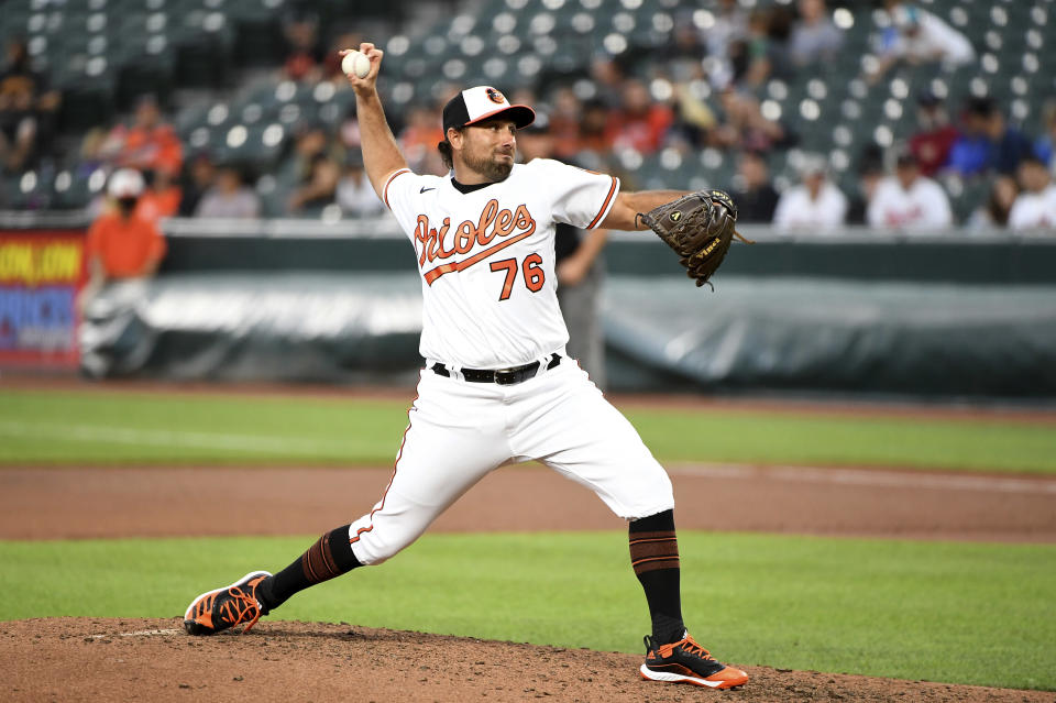Baltimore Orioles relief pitcher Mickey Jannis makes his Major League debut in the fifth inning of a baseball game against the Houston Astros, Wednesday, June 23, 2021, in Baltimore. (AP Photo/Will Newton)