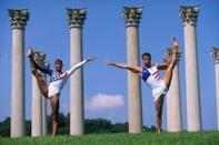 14 Aug 1996: Gymnasts Dominique Dawes and Jair Lynch of the USA, both medalists at the 1996 Centennial Olympic Games in Atlanta, Georgia, pose together outside Washington, D.C. Mandatory Credit: Doug Pensinger /Allsport