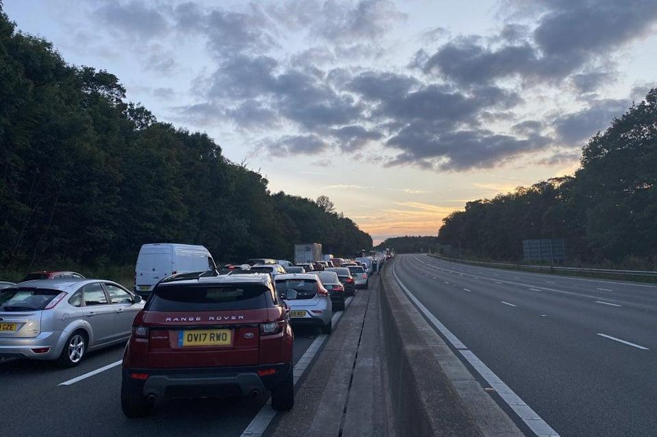 Traffic on the M25 on Wednesday (PA)