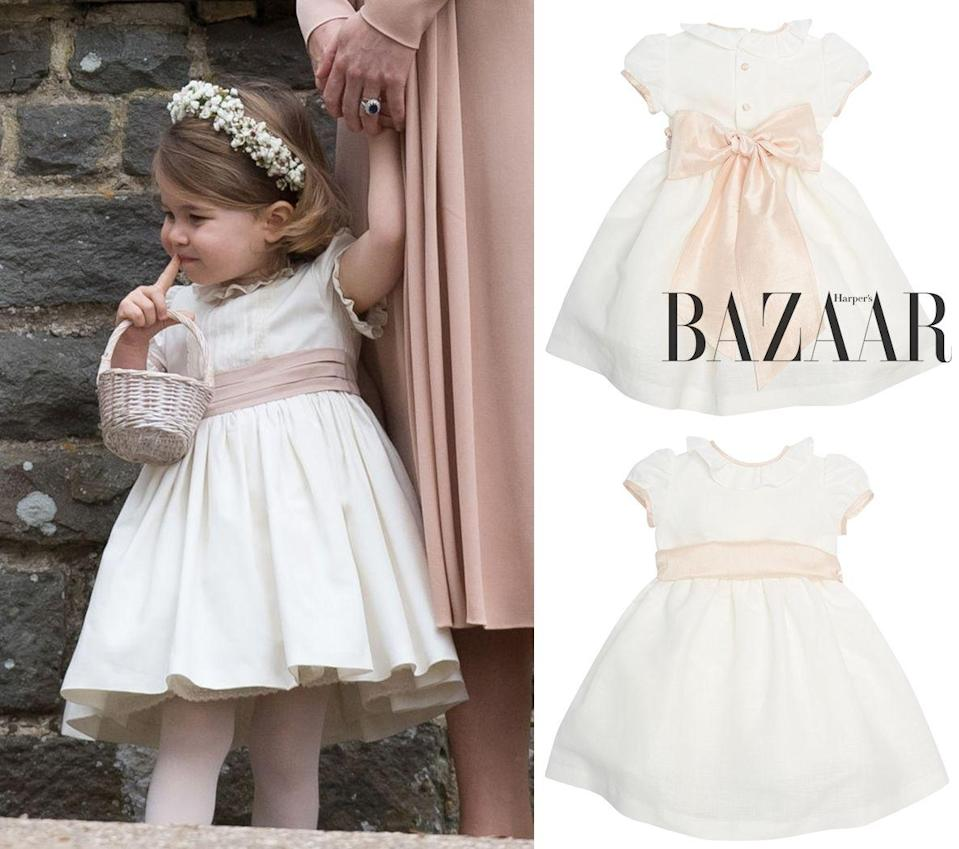 <p>Dress:<strong>Pepa&Co.</strong>Flower girl's white dress with pink silk sash £280.00</p> <cite>Getty Images</cite>