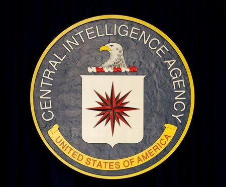CIA sign before Obama's arrival to speak after his meeting with his National Security Council in Virginia
