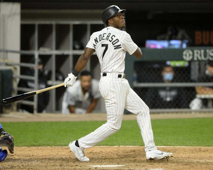 CHICAGO - SEPTEMBER 26:  Tim Anderson #7 of the Chicago White Sox bats against the Chicago Cubs on September 26, 2020 at Guaranteed Rate Field in Chicago, Illinois.  (Photo by Ron Vesely/Getty Images)