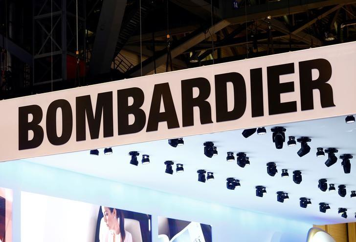 A logo of jet manufacturer Bombardier is pictured on their booth during EBACE in Geneva