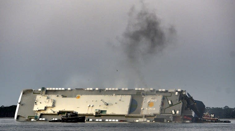 Georgia: Search on for 4 missing after cargo ship overturned