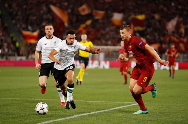 Soccer Football - Champions League Semi Final Second Leg - AS Roma v Liverpool - Stadio Olimpico, Rome, Italy - May 2, 2018 Roma's Edin Dzeko in action with Liverpool's Trent Alexander-Arnold Action Images via Reuters/John Sibley