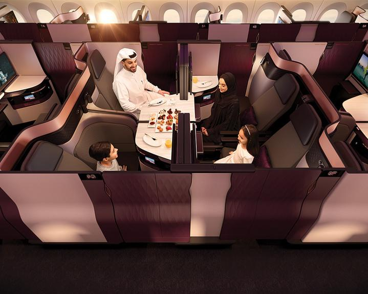 Group booking: The new look allows four people to sit together behind privacy partitions (Qatar Airways)