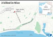 A map of central Nice locating the knife attack