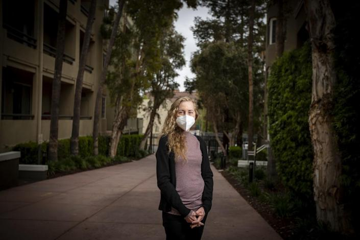 Laurie Stone, a therapist in West Los Angeles, outside her apartment in West Los Angeles