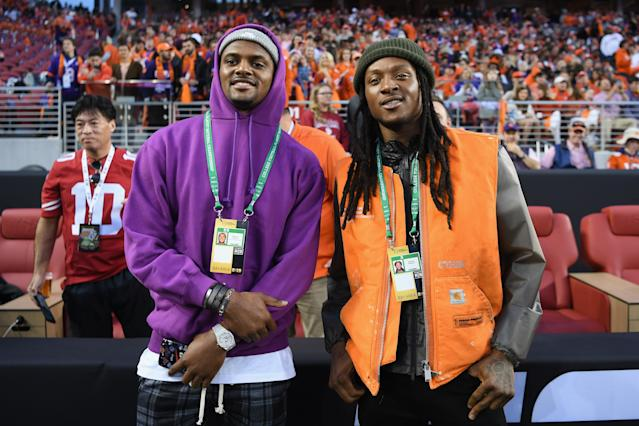 Deshaun Watson, left, and DeAndre Hopkins at the national championship game between Clemson and Alabama on Monday night. (Getty Images)