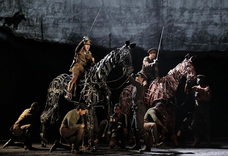 "In this theater publicity image released by Lincoln Center Theater, a scene is shown from the production of ""War Horse,"" performing at the Lincoln Center Theater in New York. Producers announced Tuesday, Sept. 4, 2012 that the final performance of ""War Horse"" in New York will be Jan. 6, 2013.  (AP Photo/Lincoln Center Theater, Paul Kolnik)"