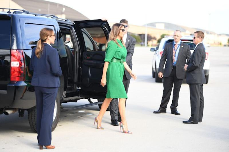The piece FLOTUS opted to wear for a trip to Lily's Place, a drug recovery center for infants, in West Virginia, was a green muslin shirtdress. Photo: Getty Images