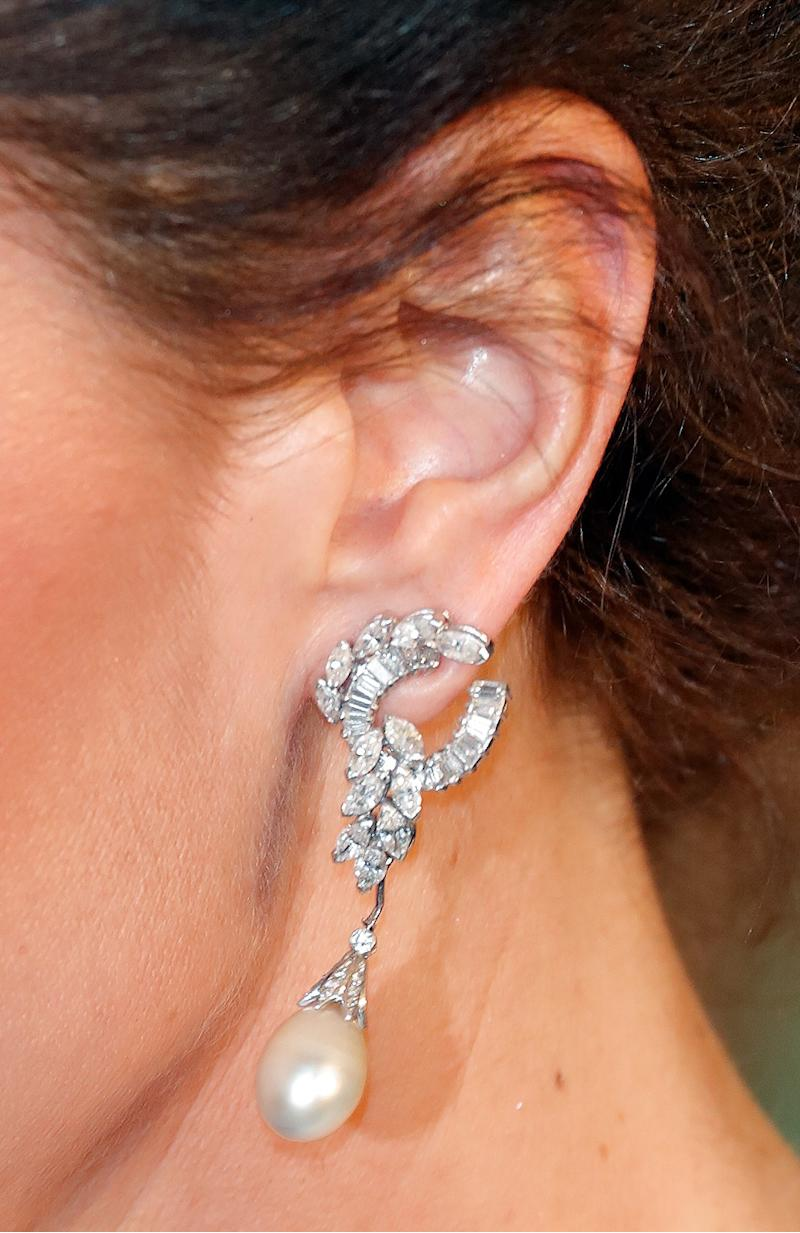 LONDON, UNITED KINGDOM - FEBRUARY 10: (EMBARGOED FOR PUBLICATION IN UK NEWSPAPERS UNTIL 24 HOURS AFTER CREATE DATE AND TIME) Catherine, Duchess of Cambridge (earring detail) attends the EE British Academy Film Awards at the Royal Albert Hall on February 10, 2019 in London, England. (Photo by Max Mumby/Indigo/Getty Images)