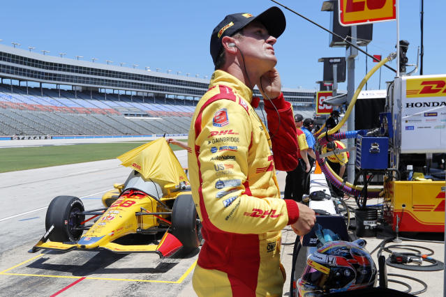 Ryan Hunter-Reay prepares during practice for the IndyCar auto race at Texas Motor Speedway in Fort Worth, Texas, Saturday, June 6, 2020. (AP Photo/Tony Gutierrez)