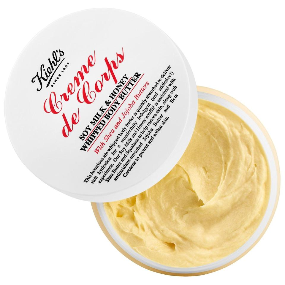 <p>Kiehl's original Creme de Corps is an iconic beauty product beloved for nearly two decades. The <span>Kiehl's Creme de Corps Soy Milk &amp; Honey Whipped Body Butter</span> ($40) is lighter than the classic Creme de Corps, yet still incredibly moisturizing, and leaves no slimy legs inside your tights or jeans. Oh, and it smells delicious.</p>