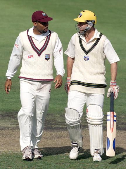 12 Dec 2000:  Jimmy Adams West Indies captain and Simon Katich Australia A vice captain chat at the conclusion of play, during day four of the four day tour match between Australia A and the West Indies, at Bellerive Oval, Hobart, Australia. The match finished in a draw. X DIGITAL IMAGE Mandatory Credit: Hamish Blair/ALLSPORT