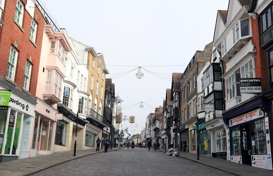 An empty high street in Guilford, Surrey, at the start of a four week national lockdown for England. (Photo by Adam Davy/PA Images via Getty Images)