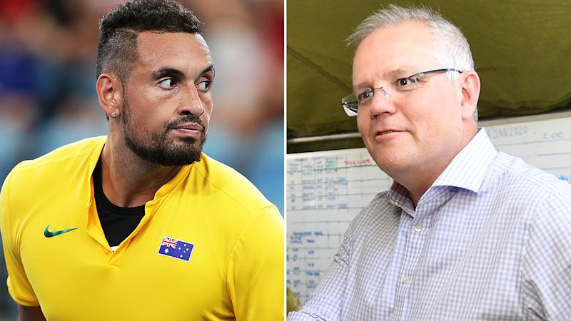 Nick Kyrgios, pictured left, has accused Australian prime minister Scott Morrison, right, of being too slow to act on the bushfire disaster.