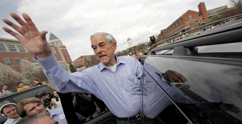 Republican presidential candidate, Rep. Ron Paul, R-Texas waves to supporters after a rally at the University of Missouri ,Thursday, March 15, 2012, in Columbia, Mo. (AP Photo/Charlie Riedel)