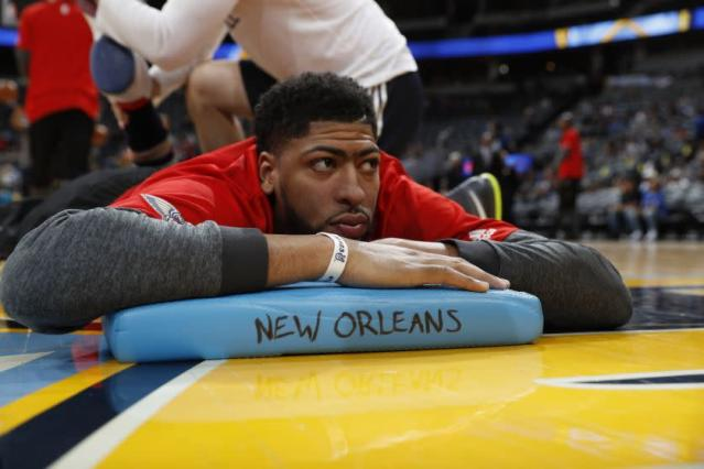 "<a class=""link rapid-noclick-resp"" href=""/nba/players/5007/"" data-ylk=""slk:Anthony Davis"">Anthony Davis</a> is comfortable in (on?) New Orleans. (AP)"