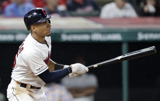 Cleveland Indians' Oscar Mercado watches his RBI single in the fourth inning in the team's baseball game against the Chicago White Sox, Wednesday, Sept. 4, 2019, in Cleveland. (AP Photo/Tony Dejak)
