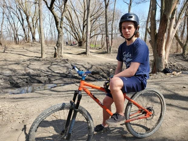 Ryan Bertrand says he feels mad that theCity of Windsor removed the jump tracks that some members of the local community put together. (Tahmina Aziz/CBC - image credit)