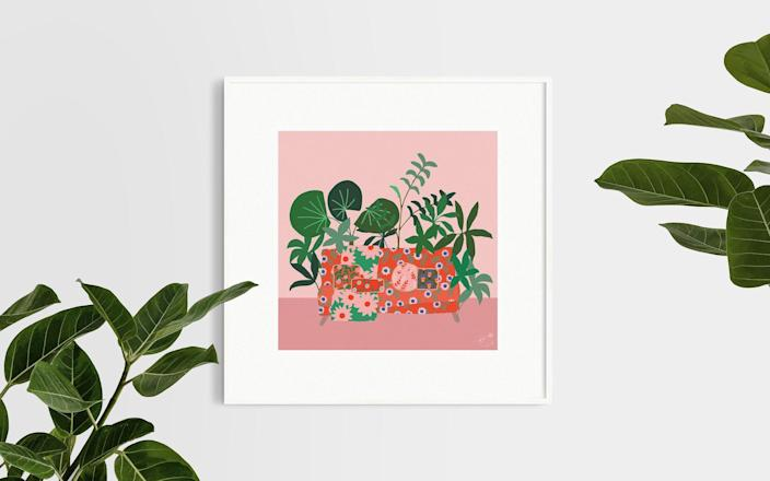 """Portugal-based artist Emma Hall riffs on pink and green with this perfect digital print. $12, Etsy. <a href=""""https://www.etsy.com/listing/793630149/bohemian-floral-still-life-sofa-and?ref=shop_home_recs_6"""" rel=""""nofollow noopener"""" target=""""_blank"""" data-ylk=""""slk:Get it now!"""" class=""""link rapid-noclick-resp"""">Get it now!</a>"""