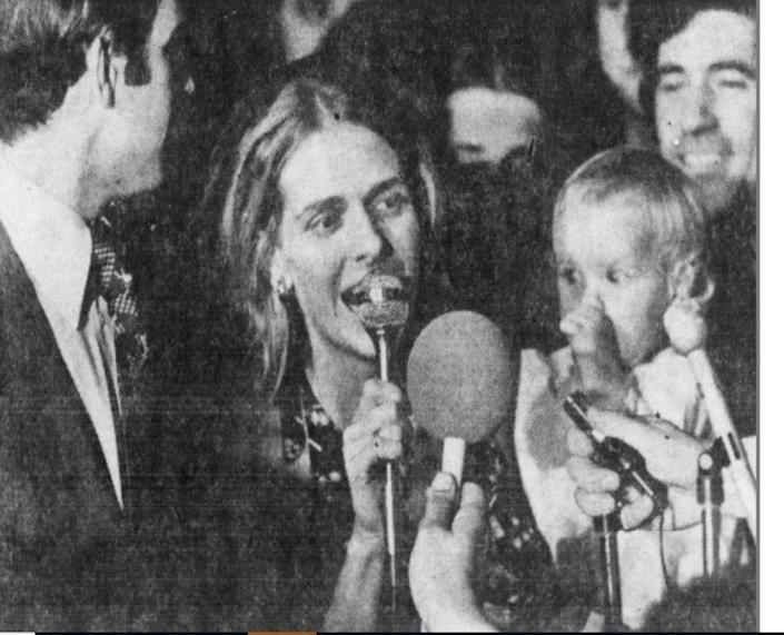 """In this November 1972 photo, Neilia Hunter Biden holds baby daughter Naomi """"Amy"""" and talks to the crowd celebrating Joe Biden's stunning upset over J. Caleb Boggs for Delaware's senate seat. Neilia and Amy died six weeks later in a car accident in Hockessin."""