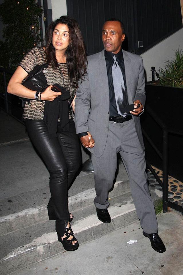 "Boxing legend Sugar Ray Leonard brought his wife of 17 years, Bernadette Robi, as his dinner date. Fallen Star/<a href=""http://www.pacificcoastnews.com/"" target=""new"">PacificCoastNews.com</a> - April 19, 2011"