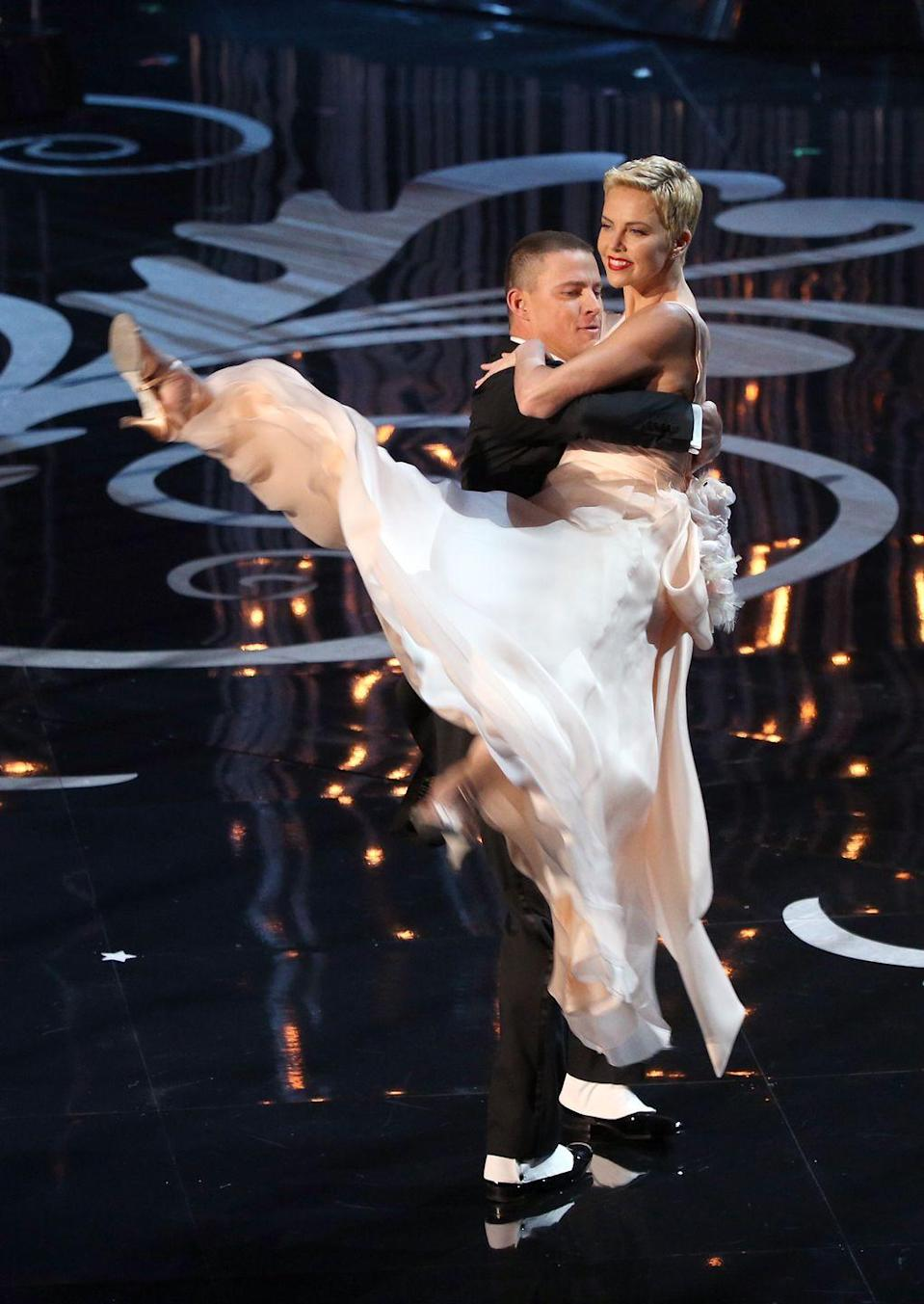 """<p>Charlize Theron showed off her dance moves with Channing Tatum in <a href=""""https://youtu.be/ugiCxCfqPi4?t=244"""" rel=""""nofollow noopener"""" target=""""_blank"""" data-ylk=""""slk:2013 at the Academy Awards"""" class=""""link rapid-noclick-resp"""">2013 at the Academy Awards</a>. Her impressive dance moves and gracefulness was enough to shock some. </p><p>Early in her career as a model, Charlize still saw herself as a dancer. She even moved to New York to study ballet, but it didn't work out. """"I was broke, I was taking class at the Joffrey Ballet, and my knees gave out,"""" <a href=""""https://www.nytimes.com/2008/02/24/style/tmagazine/24coverlynn.html"""" rel=""""nofollow noopener"""" target=""""_blank"""" data-ylk=""""slk:she told The New York Times"""" class=""""link rapid-noclick-resp"""">she told <em>The New York Times</em></a>. """"I realized I couldn't dance anymore, and I went into a major depression."""" Now Charlize is an Oscar-winning actress, so it seems it all worked out.</p>"""
