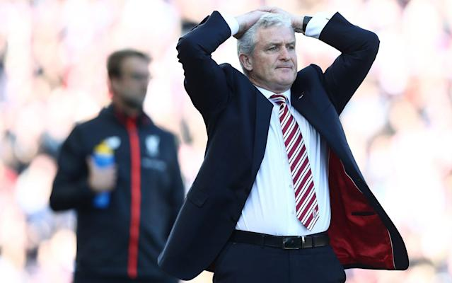 <span>Mark Hughes shows his frustration</span> <span>Credit: REX FEATURES </span>