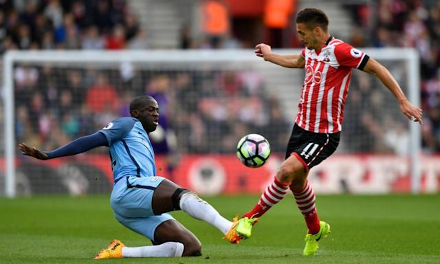 "<span class=""element-image__caption"">Manchester City's Yaya Touré challenges Dusan Tadic of Southampton.</span> <span class=""element-image__credit"">Photograph: Stefan Wermuth/Reuters</span>"