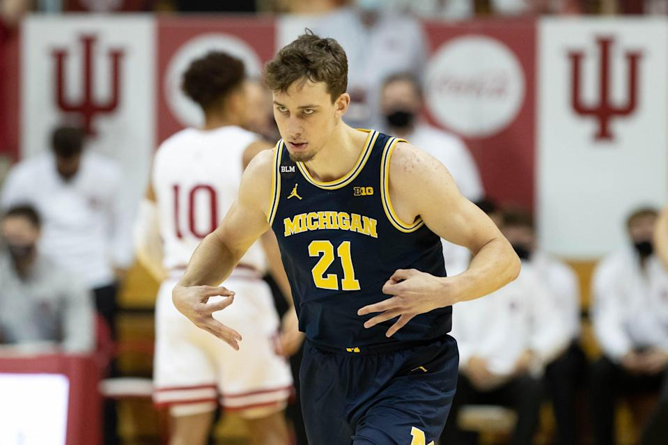 Michigan Wolverines guard Franz Wagner celebrates a made 3-point basket in the first half against the Indiana Hoosiers on Feb. 27, 2021 in Bloomington, Ind.