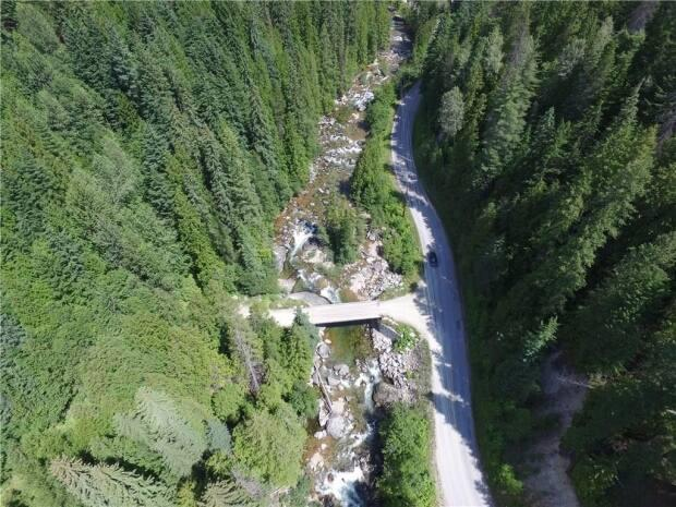 Aerial view of the bridge connecting Pass Creek Road and Mountain Ridge Road.