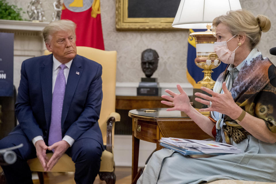 FILE - In this Aug. 5, 2020, file photo, Dr. Deborah Birx, White House coronavirus response coordinator, speaks as President Donald Trump meets with Arizona Gov. Doug Ducey in the Oval Office of the White House in Washington. Birx was brought into President Donald Trump's orbit to help fight the coronavirus, she had a sterling reputation as a globally recognized AIDS researcher and a rare Obama administration holdover. Less than 10 months later, her reputation is frayed and her future in President-elect Joe Biden's administration uncertain. (AP Photo/Andrew Harnik, Pool, File)