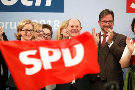German Social Democrats voting on coalition pact with Angela Merkel
