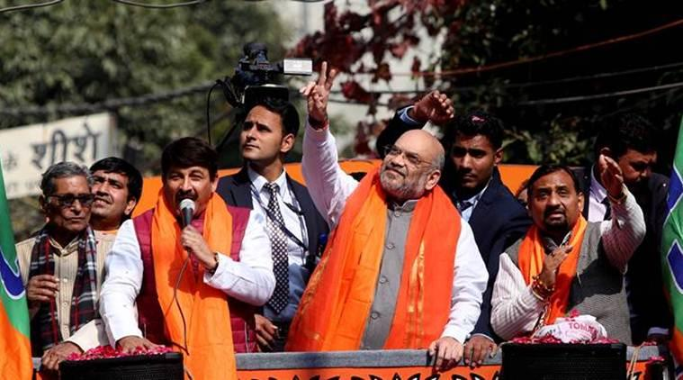 amit shah rally, delhi assembly elections, amit shah roadshow, amit shah delhi assembly election campaign, amit shah delhi promise, delhi news, indian express