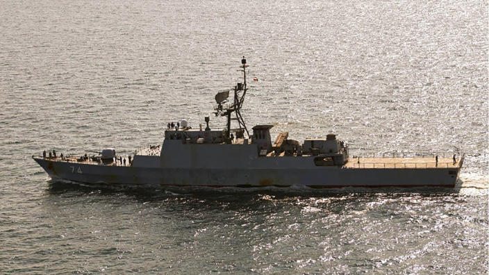 In this handout photo from the Royal Danish Air Force, the Iranian navy destroyer Sahand is seen sailing through the Baltic Sea off the island of Bornholm, a Danish island in the Baltic Sea off the south coast of Sweden, on Thursday, July 22, 2021. The Danish military said Thursday it spotted an Iranian destroyer and a large support vessel sailing through the Baltic Sea, likely heading to Russia for a military parade in the coming days. (Royal Danish Air Force via AP)