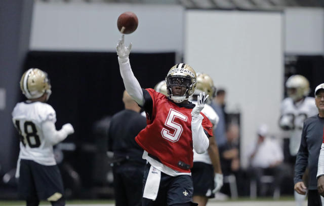 "<a class=""link rapid-noclick-resp"" href=""/nfl/players/27560/"" data-ylk=""slk:Teddy Bridgewater"">Teddy Bridgewater</a> could have competed for a starting job elsewhere in the league. Instead, he's happy playing the long game in New Orleans. (AP)"