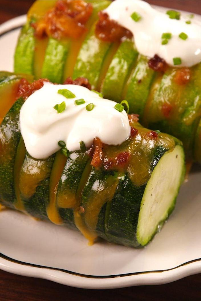 """<p><span>We only accept sides that are fully loaded.</span></p><p><span>Get the recipe from </span><a href=""""https://www.delish.com/cooking/recipe-ideas/recipes/a54719/loaded-stuffed-zucchini-recipe/"""" rel=""""nofollow noopener"""" target=""""_blank"""" data-ylk=""""slk:Delish"""" class=""""link rapid-noclick-resp"""">Delish</a><span>.</span><br></p>"""